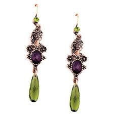 purple drop earrings burnished copper tone silhouette green and purple drop earrings