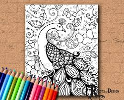 instant download coloring page peacock zentangle inspired