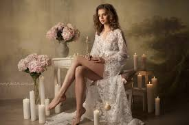 Lingerie Honeymoon Long Lace Bridal Robe F3 Lingerie Nightdress By Apilat On Zibbet