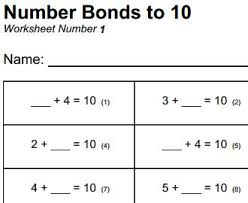 free printable mathematics worksheet number bonds to 10 maths