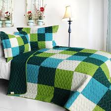 Geometric Coverlet Green Blue Minecraft Blocks Boys Bedding Full Queen Quilt Set Teen