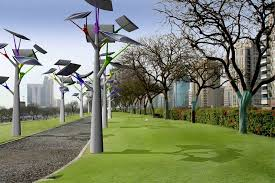 solar trees harvest energy during the day to illuminate the