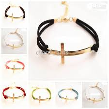 bracelet with cross images Cross leather bracelet golden cross bracelet candy color leather jpg