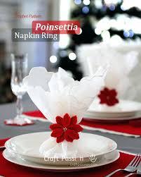 table decoration ideas crochet poinsettia napkin ring inexpensive