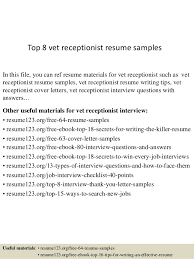veterinary receptionist sample resume free veterinary