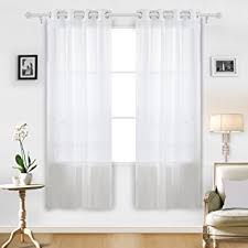 Dusty Blue Curtains Amazon Com Deconovo Sheer White Curtains Grommet Curtains Voile