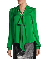 green silk blouse milly sleeve tie neck stretch silk blouse neiman