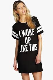 tia i woke up like this oversized tee night dress boohoo