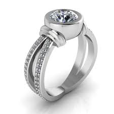 bezel set engagement rings split shank bezel set engagement ring oscar moissanite rings