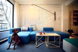 Living Room With Blue Sofa by Amusing Scandinavian Living Room With Diy Oak Coffee Table Ideas