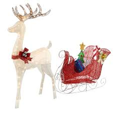 Lighted Sleigh And Reindeer by 60 U201d Color Changing Led Glitter Reindeer And Sleigh Christmas