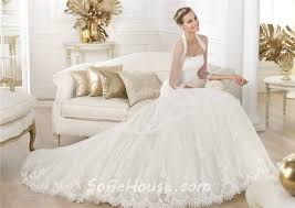 princess a line strapless tulle lace wedding dress with long