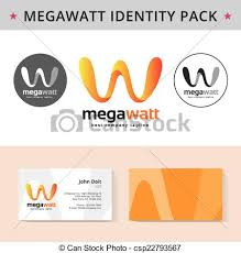 clip art vector of abstract letter w identity pack vector concept
