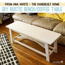 Rustic Bench Coffee Table Diy Rustic Coffee Table From The Handbuilt Home