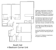 Floor Plan Of A Bedroom South Hall Floor Plans Residential Life Plu