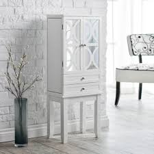 White High Gloss Bedroom Furniture by Amazon Com Belham Living Mirrored Lattice Front Jewelry Armoire