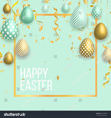 happy easter template gold ribbon eggs stock vector 583292899