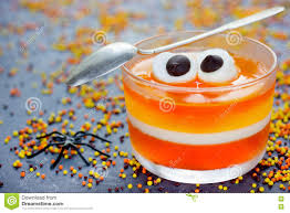fun food for kids jelly with eyes on halloween orange yellow
