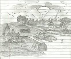 photos drawing of natural scenery sunrise with pencil drawing