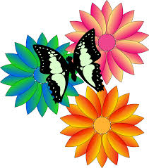 clipart butterfly and flowers