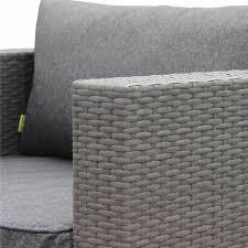 canape geant salon de jardin en résine tressée grise 14 place fauteuil canapé