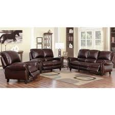 Triple Recliner Sofa by Abbyson Madison Leather Pushback Reclining 2 Piece Living Room Set