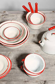 love the pop of color vintage enamelware kitchen super set