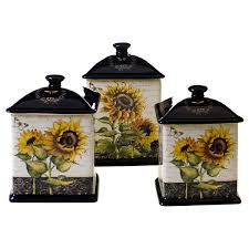 sunflower kitchen canisters certified international sunflowers brown yellow ceramic 3