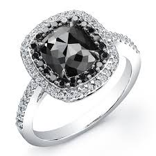 black diamonds rings images Cushion 2ct black diamond ring jpg