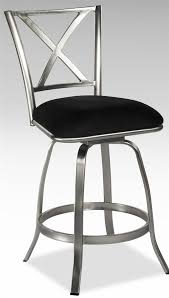 stainless steel x back swivel counter stool with upholstered seat
