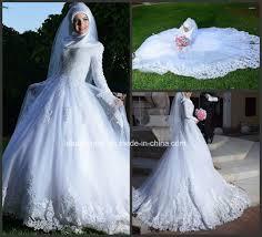 custom wedding dress china muslim bridal wedding gown long sleeves lace tulle custom
