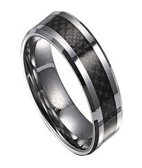 wedding band for tungsten wedding ring for men with black carbon fiber