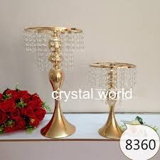 Candle Holders Decorated With Flowers Tall Gold Mental Flower Stands Wedding 6672 Table Centerpieces For