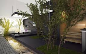 garden modern exterior court yard concept come with solid black