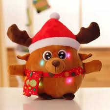 wholesale christmas decoration singing glowing elk kids plush toy