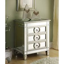 Silver Nightstand Ls Alcott Mirror Nightstand End Table Silver Finish 3 Drawers