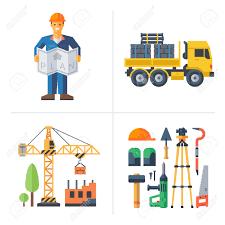 construction worker holding a plan crane building a house truck construction worker holding a plan crane building a house truck and tools vector flat