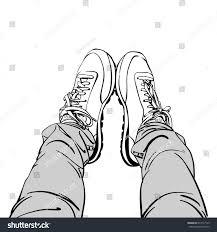 sketch selfie feet sneaker shoes tight stock vector 674117125