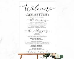 wedding program sign black calligraphy wedding program sign template