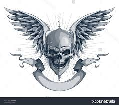 skull and wings meaning horned skull with wings design