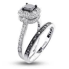 white and black diamond engagement rings 10k gold white black diamond unique bridal engagement ring set 1 2