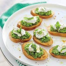 sweet pea crostini with ricotta recipe myrecipes