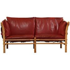 Red Leather 2 Seater Sofa Aneby Mobler