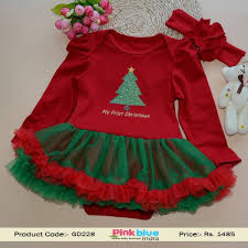Beautiful Red and Green Christmas Dress for Indian Baby Girls