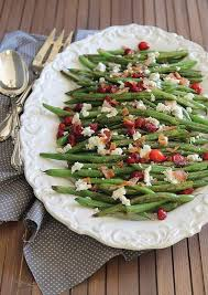 green beans with cranberries bacon and goat cheese running to