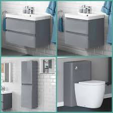 modern grey gloss basin sink bathroom vanity unit furniture