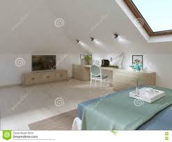 huge bedroom on the loft in a modern style stock illustration