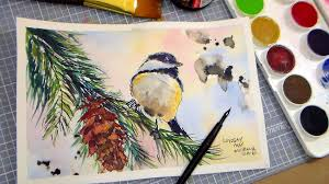 watercolor tutorial chickadee how to paint a chickadee in pen ink and watercolor full tutorial