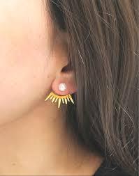 gold back earrings 24k gold plated of light ear jacket pearl earrings pearl