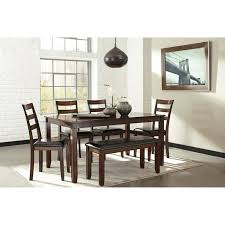 Ashley Dining Room Chairs Burnished Brown 6 Piece Dining Table Set With Bench By Signature